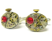 Steampunk Cufflinks steampunk cuff links Red Swarovski Crystals mens cufflinks red accessories