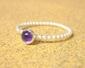 Amethyst ring stackable silver ring sterling silver stack ring sterling silver ring amethyst jewelry