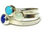 Sterling silver gemstone stacking rings set lapis lazuli, turquoise, and aquamarine blue summer fashion Etsy jewelry