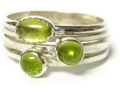 Silver peridot rings sterling silver stacking ring set stackable gemstone ring silver ring free shipping Etsy jewelry