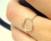 Open heart ring Sterling silver heart ring 925 Sterling silver ring silver heart jewelry