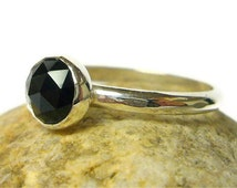 Black spinel ring sterling silver ring rose cut gemstone ring black ring silver stacking ring Etsy jewelry