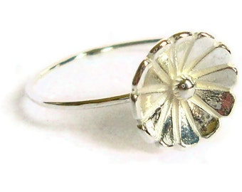 Sterling silver flower ring 925 Sterling silver ring silver stacking ring spring fashion nature inspired jewelry