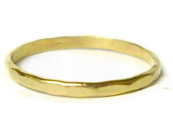 Yellow gold ring 14k gold ring gold stacking ring hammered gold band solid gold ring wedding band