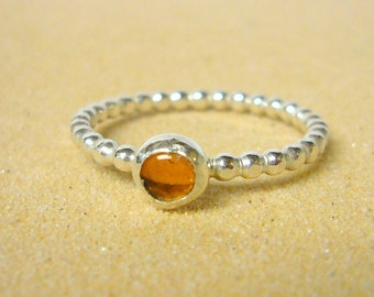 Silver amber ring sterling silver ring silver stacking ring beaded gemstone stackable ring honey gold