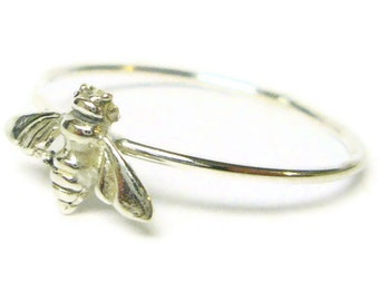 Bee ring 925 Sterling silver ring silver stacking ring stackable ring forest woodland wedding