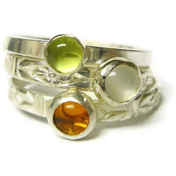 sterling silver stacking gemstone rings stackable by