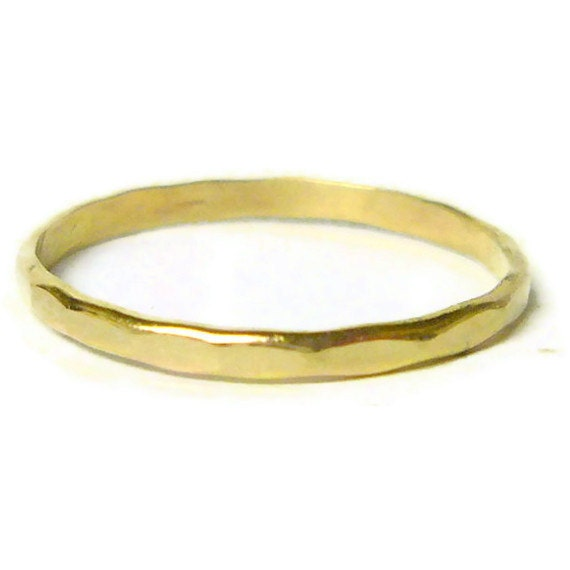 yellow gold ring 14k gold ring gold stacking ring hammered