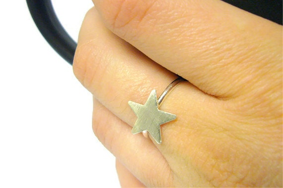 Sterling silver star ring 925 Sterling silver ring silver stacking ring geometric jewelry summer fashion