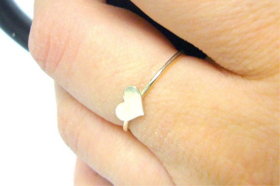 Sterling silver heart ring 925 Sterling silver ring silver stacking ring fashion tiny heart ring