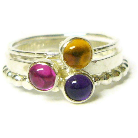 Sterling silver stacking gemstone ring set red ruby ring, honey golden citrine ring, purple amethyst ring sterling silver ring Etsy jewelry