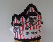 Pirate Birthday hat/crown - boys birthday- scull and crossbones