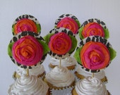 Reusable Cupcake Toppers - 1 dozen - leopard and Roses