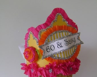 60th Birthday crown, 60th birthday hat, 60th party crown, 60th party hat, 60 & SASSY or customize - Adult Birthday Party Crown/Hat