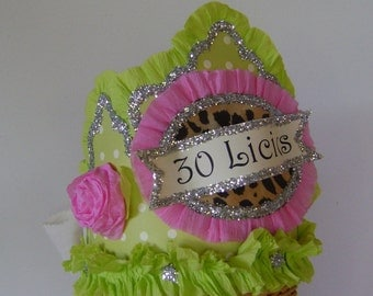 30th Birthday Party Crown,  30th birthday hat, customize
