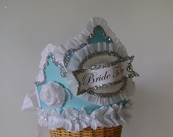 Wedding- bride- bachelorette crown/hat  Blue-BRIDE TO BE or customize