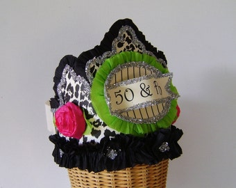 50th Birthday Party Crown, 50th birthday party Hat,  50 and FAB or customize