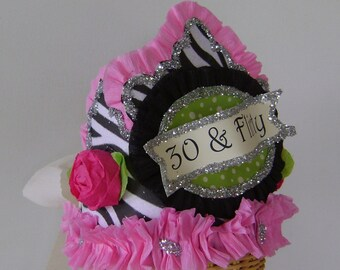 30th Birthday Party Crown/Hat- 30 and FLIRTY or customize