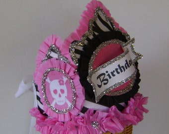BIRTHDAY HAT adult/child -Rocker- scull and cross bones -Birthday Party Crown / Hat