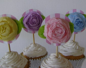 Cupcake Toppers, birthday cupcake toppers,  Reusable - 1 dozen - Pastel Roses