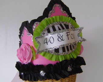 40th Birthdat Party Hat, 40th birthday party crown, pink and black birthday hat, customize