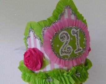 21st Birthday Party hat - Crown - customize any number