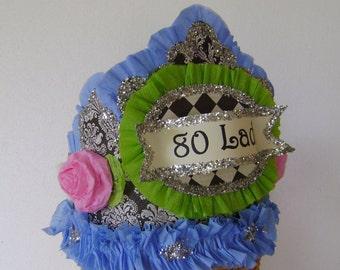 80th Birthday hat, 80th birthday crown, adult birthday hat
