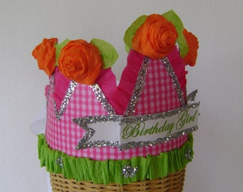 Birthday Party Crown, birthday party hat, gingham check hat, pink and orange
