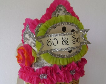60th Birthday Party hat, 60th birthday party crown, Adult Birthday Hat, 60 & Sassy or customize