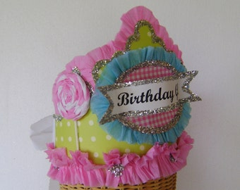 Lollipop  Birthday Hat - Crown- BIRTHDAY GIRL or customize