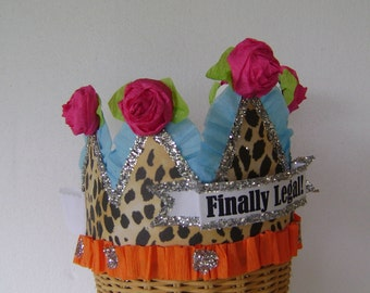21st Birthday Crown-Birthday Hat - FINALLY LEGAL or customize