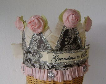 GRANDMA party Crown, Grandma party Hat, Baby Shower party crown, mommy to be party crown, customize
