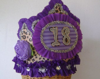 18th Birthday Party Hat, 18th birthday party Crown, leopard birthday hat, 18th birthday, teenage birthday hat, customize