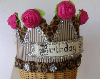 Birthday party crown, birthday party hat- BIRTHDAY GIRL or anything you want - Pink and Brown birthday hat- adult or child