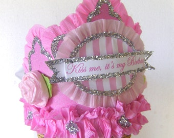 Birthday party Hat, birthday party crown, girls birthday hat, pink birthday hat, customize