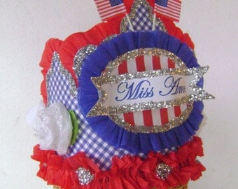 4th of July Hat, 4th of July Crown, patriotic party hat, red white and blue party crown, adult or child,  MISS AMERICA or customize