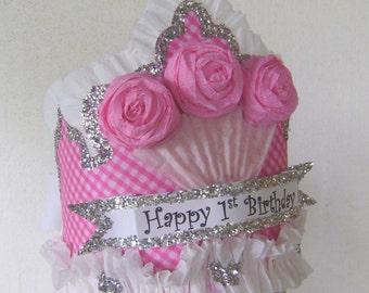 1st Birthday Crown, 1st birthday hat, Cupcake birthday hat- adult or child, customize