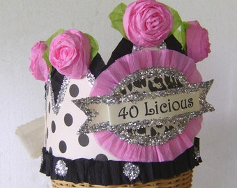 40th Birthday Party hat- 40th birthday crown, adult birthday hat,  girl birthday, customize,