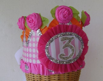 3rd Birthday hat, 3rd Birthday crown, party hat, party crown, pink and orange birthday hat, customize