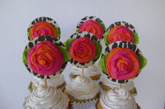 Cupcake Toppers, cupcake decoration, leopard cupcake toppers,