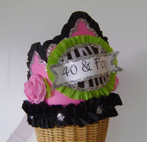 40th Birthdat Party Hat Birthday Crown Pink And Black Customize