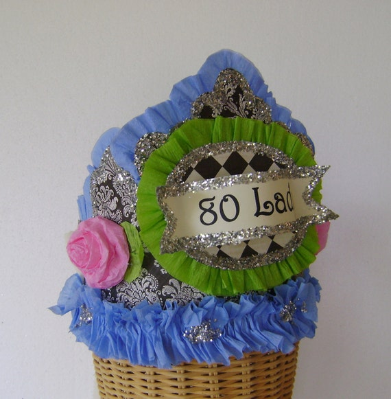 80th Birthday hat, 80th birthday crown, adult birthday hat
