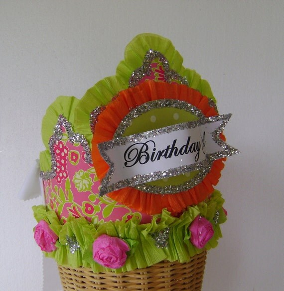 Lilly Pulitzer - BLOOMERS Pattern- Birthday Hat / Crown- customize with any saying