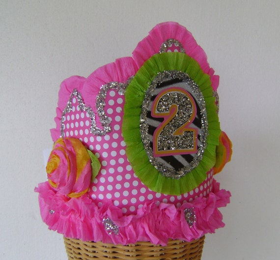 2nd Birthday party Crown, 2nd birthday party hat, pink polka dot birthday hat, girls birthday hat, customize