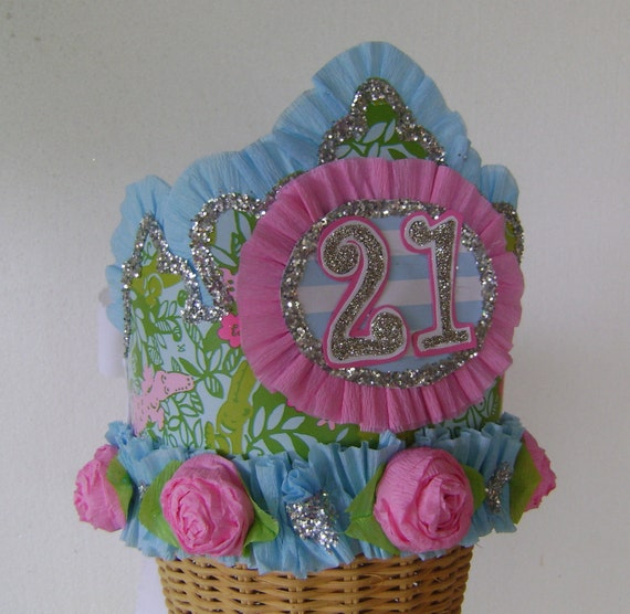 Lilly Pulitzer LATER GATOR 21st  Birthday Hat / Crown- customize with any number or saying