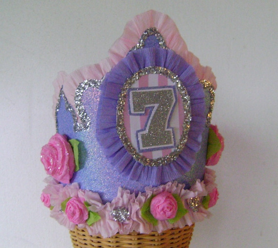 7th Birthday party Hat, 7th birthday party crown, customized birthday hat, pink and purple birthday hat