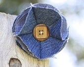 SALE: Denim Flower Hair Pin