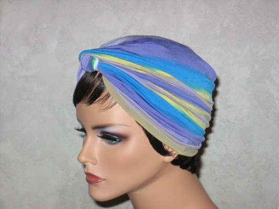 Handmade Fashion Twist Turban Yellow, Turquoise Blue Electron Stripe