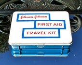 Vintage Johnson and  Johnson First Aid Travel Kit 1960s