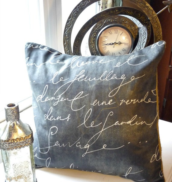 French Script Pillow Cover - Black and Burlap 18 inch Decorative Pillow